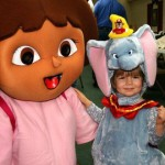 Dora with little girl dressed as Dumbo