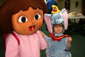 Dora with little girl dressed as Dumbo